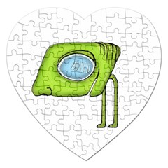 Funny Alien Monster Character Jigsaw Puzzle (Heart)