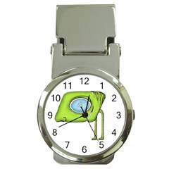 Funny Alien Monster Character Money Clip With Watch