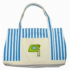 Funny Alien Monster Character Blue Striped Tote Bag