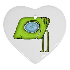 Funny Alien Monster Character Heart Ornament (two Sides)