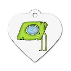 Funny Alien Monster Character Dog Tag Heart (two Sided)