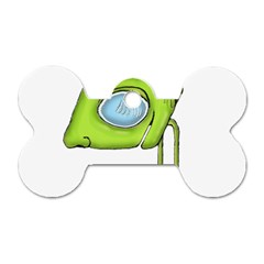 Funny Alien Monster Character Dog Tag Bone (Two Sided)