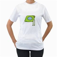 Funny Alien Monster Character Women s T-Shirt (White)
