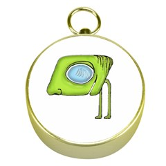 Funny Alien Monster Character Gold Compass