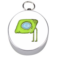 Funny Alien Monster Character Silver Compass