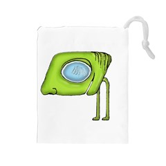 Funny Alien Monster Character Drawstring Pouch (large)
