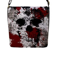 Skull Grunge Graffiti  Flap Closure Messenger Bag (large)
