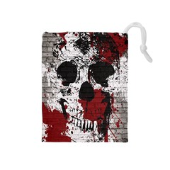 Skull Grunge Graffiti  Drawstring Pouch (Medium)