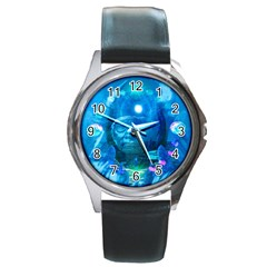 Magician  Round Leather Watch (silver Rim)