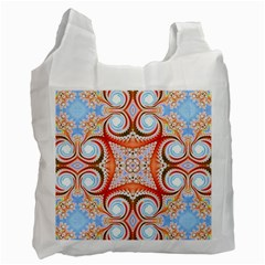 Fractal Abstract  White Reusable Bag (one Side)
