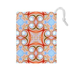 Fractal Abstract  Drawstring Pouch (Large)