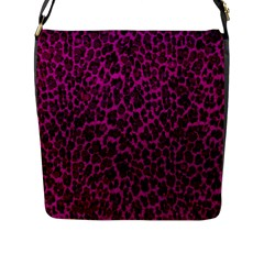 Pink Leopard  Flap Closure Messenger Bag (large)