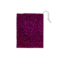 Pink Leopard  Drawstring Pouch (small)