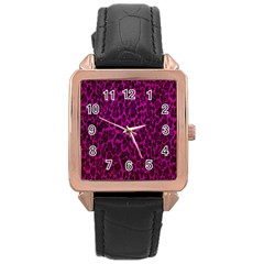 Pink Cheetah  Rose Gold Leather Watch