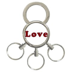 Love Typography Text Word 3 Ring Key Chain