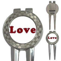 Love Typography Text Word Golf Pitchfork & Ball Marker