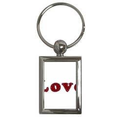 Love Typography Text Word Key Chain (rectangle)