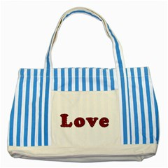 Love Typography Text Word Blue Striped Tote Bag