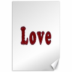 Love Typography Text Word Canvas 12  x 18  (Unframed)