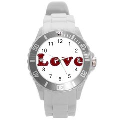 Love Typography Text Word Plastic Sport Watch (large)