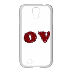 Love Typography Text Word Samsung GALAXY S4 I9500/ I9505 Case (White)