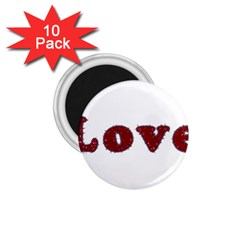Love Typography Text Word 1 75  Button Magnet (10 Pack)