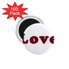 Love Typography Text Word 1 75  Button Magnet (100 Pack)