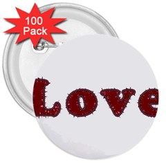 Love Typography Text Word 3  Button (100 Pack)