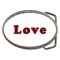 Love Typography Text Word Belt Buckle (oval)