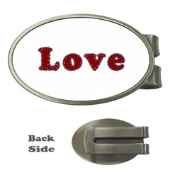 Love Typography Text Word Money Clip (Oval)