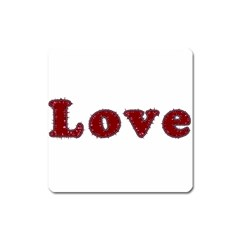 Love Typography Text Word Magnet (square)