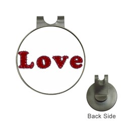 Love Typography Text Word Hat Clip With Golf Ball Marker