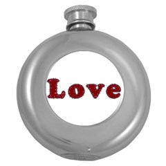 Love Typography Text Word Hip Flask (round)