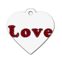 Love Typography Text Word Dog Tag Heart (Two Sided)