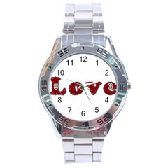 Love Typography Text Word Stainless Steel Watch