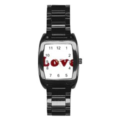 Love Typography Text Word Stainless Steel Barrel Watch