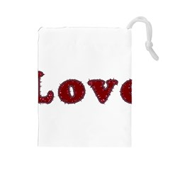 Love Typography Text Word Drawstring Pouch (large)