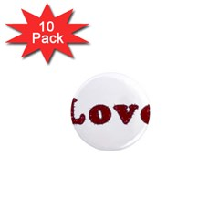 Love Typography Text Word 1  Mini Button Magnet (10 Pack)
