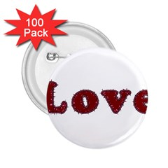 Love Typography Text Word 2 25  Button (100 Pack)