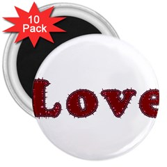 Love Typography Text Word 3  Button Magnet (10 Pack)