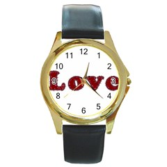 Love Typography Text Word Round Leather Watch (gold Rim)
