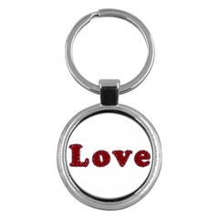 Love Typography Text Word Key Chain (round)