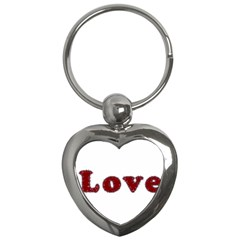 Love Typography Text Word Key Chain (heart)