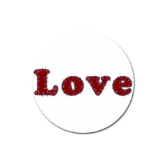 Love Typography Text Word Magnet 3  (round)
