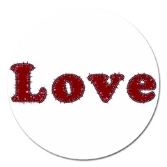 Love Typography Text Word Magnet 5  (round)