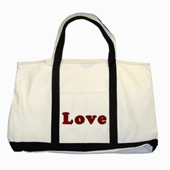 Love Typography Text Word Two Toned Tote Bag