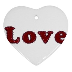 Love Typography Text Word Heart Ornament (Two Sides)