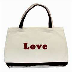 Love Typography Text Word Twin-sided Black Tote Bag