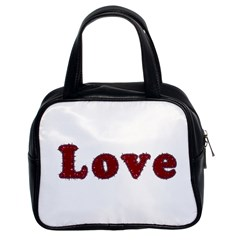 Love Typography Text Word Classic Handbag (two Sides)