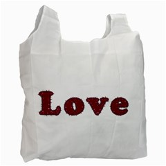 Love Typography Text Word White Reusable Bag (one Side)